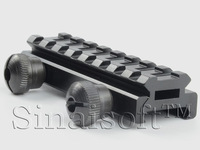 """UTG AR Flat Top 1/2(0.5)"""" High See through 8-Slot Med-Profile Super Compact Riser Mount Picatinny/Weaver Rails Free Shipping"""