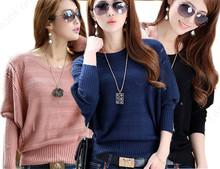 Más el tamaño Mujeres Suéter de punto Casual suéter largo flojo caliente con manga Delgado O Neck Batwing Escudo Sólido coreano lindo(China (Mainland))