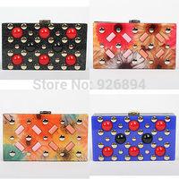New design fashion lady party clutch evening bag purse acrylic flowers rivet punk handbag chain shoulder bag messenger bag