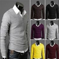 Hot  men's sweater V neck 6 color cotton men's sweater long sleeve t-shirt six colors M-L-XL-XXL sweater men