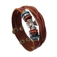 Trendy Style Cross Leather Bracelet Unisex