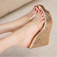 Summer at home transparent paillette open toe platform wedges heels gold female sandals