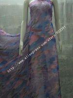 100% Silk Fabric Printed Chiffon Fabric Textile  Material For Dress Scarf DIY 140CM Width Per Meter C0844