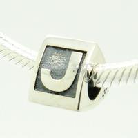 925 Silver Beads Sterling Silver Charms Fits Pandora Bracelet & Necklace DIY Alphabet J Letter LSbJ