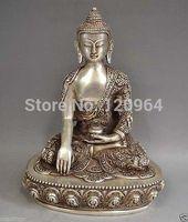 Tibetan Silver Bronze Sakyamuni Buddha Statue crafts gift Copper Bronze Tibet Silver