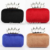 Artificial plush punk fashion personality rivet ring clutch evening bag ladies handbag shoulder bag messenger bag pursewallet