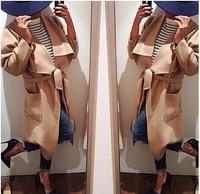 Women Winter Woolen Coat Lapel Belt Pockets Long Coats casacos femininos casual dress Poncho Cape casaco Trench