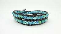 2 Wrap Blue Rain flower stones Charm Simulated Leather Wrap Bracelet