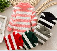 free shipping Children's thinckening sweater children clothing 2014 children's winter clothing thick yarn thick basic shirt