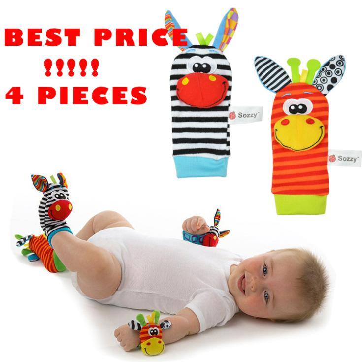 4 pçs/lote do bebê brinquedo do bebê chocalhos brinquedos meias animais alça de pulso com chocalho(China (Mainland))