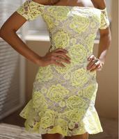 Women Flower of Rose yellow lace mini dress beautiful vestido de renda prom party club wear 2015 New Arrival