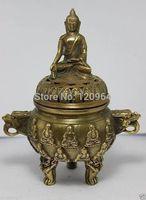 Chinese javascript: Chinese Old Copper Buddha Dragon Incense Burner Tibetan Antique Copper Bronze