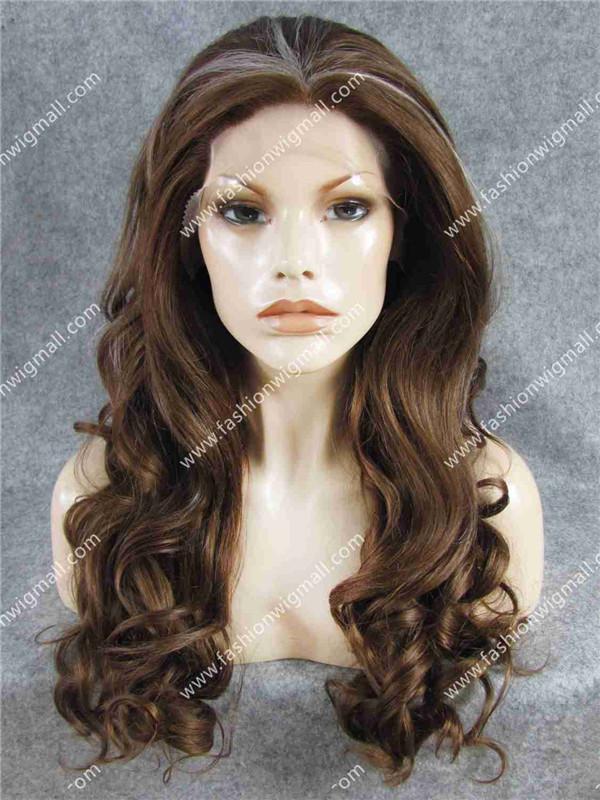 """TS 26"""" #10/30/1001 Highlight Brown Auburn Wig Medium Long Wavy Wig Heat Friendly Fiber Lace Front Wig Cheap Natural Wig(China (Mainland))"""