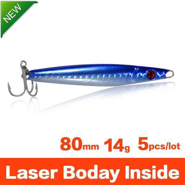 Saltwater Metal Minnow Fishing Lures Set 80mm 14g Mustad Hooks Laser Body Spinner Bait Jigging Trolling Lure NEW 2015 free ship(China (Mainland))