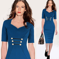 New Fashion Women High-End temperament celebrity party dress V neck half sleeve plus size S-2XL Pencil dress .