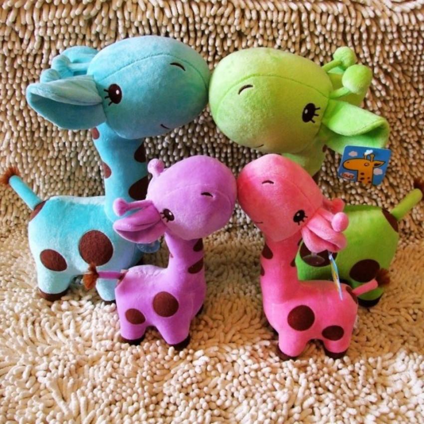 Free Shipping Hot Sell Kawaii Gifts Stuffed Plush Giraffe Animals Deer Kids Toys Giraffe Plush Happy Family 18cm/7.2(China (Mainland))