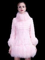 Free shiipping DHL Real Rabbit Fur stitching Mongolia Sheep Fur winter coat women luxury lady outwear abrigos mujer 2014