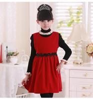 2015 New arrival Christmas Girls vest dress Children Woolen Party dresses Girl Sleeveless Flower dress