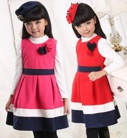 2015 New Year Winter Kids Girl Woolen Flower dresses Girls vest dress Baby Sleeveless party dress