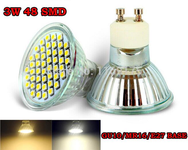 Spedizione gratuita 10pcs/lot 3w gu10 48 3528 smd led bianco puro bianco caldo e27 mr16 faretto lampadina faretti