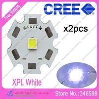 2pcs/lot! Cree XLamp XPL XP-L White 6000K-6500K 10W High Power LED Emitter Bulb on 20mm Star Platine Heatsink