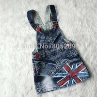 4pcs/lot 2014 hot selling girls flag design denim suspender dress baby children strap dress