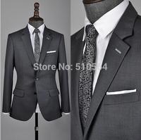 Free shipping 2014 Custom Mens Medium grey Slim Fit Suit 100% Wool Jacket Set with Pant business Men suit (Jacket+ Pant)