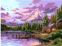 "Wall Home Decoration Cross Stitch  Precision  Printing  "" Purple lakefront "" Cross-Stitch Kit , DIY Cross Stitch Sets,"