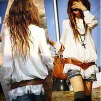 New 2013 Hot Sale Dress Women's  Long Tunic Top Vintage Lace Shirt Blouse Free Shipping 2863