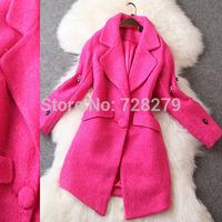 Winter Women's Coat  2014 Beaded medium-long turn-Down Collar Woolen Overcoat  Wholesale Coats Plus Size L XL