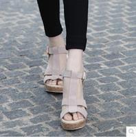 Sandals female genuine Leather  platform shoes  sandals open toe shoe women's