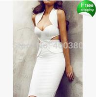 2014 white halter dress sexy backless dress cotton