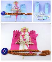 4pcs/set 2014   Elsa Anna Snow Magic Wand Christmas Girl Gift set Magic Wand + Rhinestone Hair Crown + Glove+Hair Braid