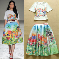 2015 Spring Boutique Holiday Clothes Set Casual Print Tops+Flare Skirt 2 Pieces Free Shipping F16584