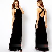 Black Long Maxi Casual Party Dresses Women 2015 New Fashion   Evening Party Long Dress vestido de festa