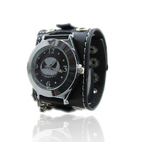 Fashion punk fashion accessories the trend of non-mainstream male leather bracelet female bracelet skull genuine leather watch