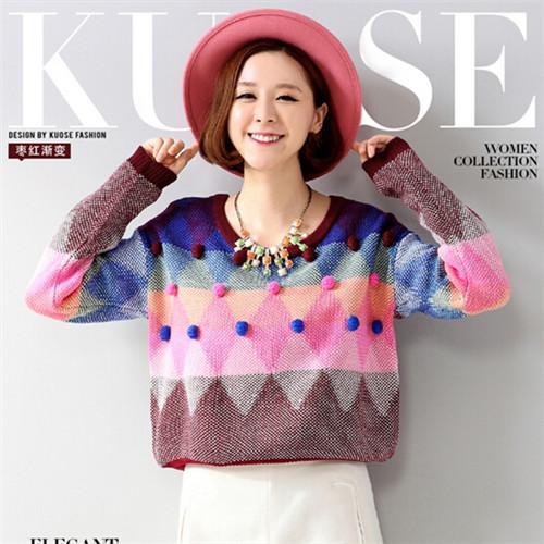 2014 fall/winter new women fashion sweater leisure loose geometric patterns Joker o-neck hit color sweaters 928(China (Mainland))