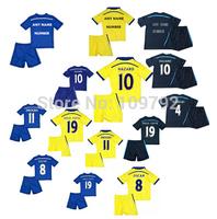 thai quality 14 15  Kids Children blue yellow black HAZARD DIEGO COSTA soccer jersey DROGBA OSCAR FABREGAS Football Uniforms