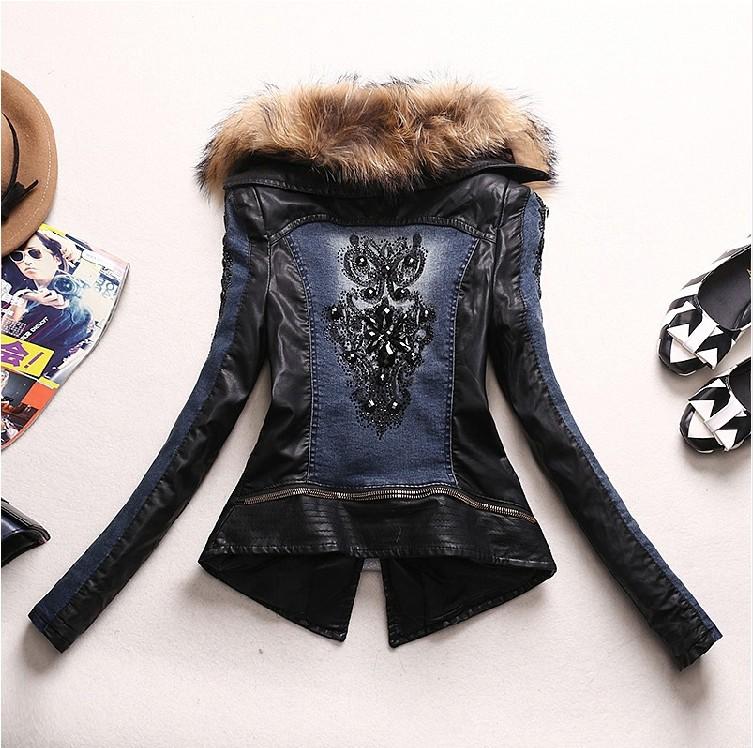 Зима женщины длинная рукавами деним куртка короткая пункт шитьё приталенный мотоцикл полиуретан кожа стёганый толстый женщины