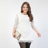 Large Size Women Dress , Temperament Slim Plus Fertilizer Floral Half Sleeve Fat MM Lace Dresses L,XL,XXL,XXXL,XXXXL