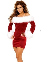New Year New Arrival Sexy Red Christmas Costumes For Women Long-sleeve Strapless Dress Christmas Clothes Plus Size