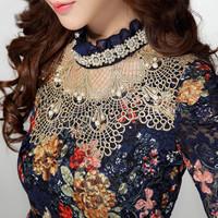 2014 autumn and winter women fashion sexy floral printed pattern lace basic shirt slim lace shirt female black blouse