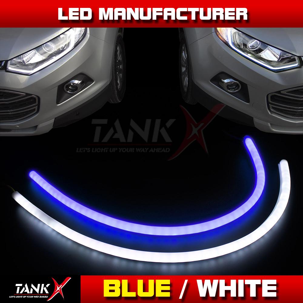 1Pair 60CM 12V Car Led Flexible Tube Halo Strip Tear Light Daytime Running Light Angel Eye White+Blue Dual Color DRl Turn Light(China (Mainland))