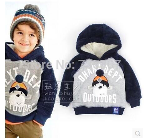 Ne * 2014 autumn winter child boy add lamps wool thick hooded fleece boy cartoon thick coat(China (Mainland))