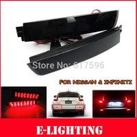 2x LED Bumper Reflector Black lens Tail Brake Light For Nissan Juke Murano Infiniti FX35 FX37 F50