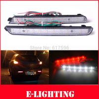 2X Clear Lens LED Rear Bumper Reflector Tail Brake Stop Light  for 04-09 Mazda3 Mazdaspeed3 Add braking Fog lights