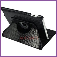 Free shipping 360 Degree Rotate leather case for iPad air 5 ,crocodile skin style