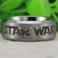 Free Shipping USA UK Canada Russia Brazil Hot Sales 8MM Satin Silver Bevel Star Wars Design Men's Fashion Tungsten Wedding Ring