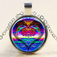 Fashion Silver Plated Chain Glass Cabochon Rainbow Heart Tree of Life Pendant Necklaces Jewelry For Men Women Christmas Gift