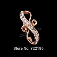 Aneis Femininos Rhienstone Rosegold Color Alloy Wedding Finger Rings For Women